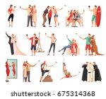 set of isolated selfie photo... | Shutterstock .eps vector #675314368