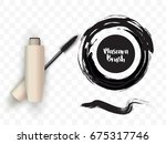 mascara golden tube  brush... | Shutterstock .eps vector #675317746