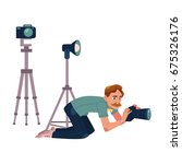 photographer taking pictures ... | Shutterstock .eps vector #675326176