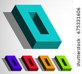 isometric 3d vector number zero ... | Shutterstock .eps vector #675331606