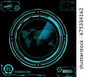 circle panel radar screen... | Shutterstock .eps vector #675334162