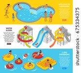 water park horizontal banners... | Shutterstock .eps vector #675334375