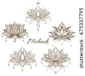 filigree lotus flower  vector... | Shutterstock .eps vector #675337795