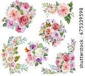 set of flowers bouquets... | Shutterstock . vector #675339598