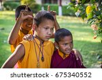 unidentified young monks...   Shutterstock . vector #675340552