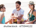 jolly youthful guys resting on...   Shutterstock . vector #675344122