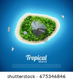 tropical island top view sea... | Shutterstock .eps vector #675346846
