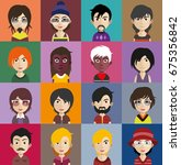 set of people icons with faces | Shutterstock .eps vector #675356842