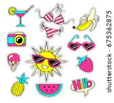 fashion girlish patch badges... | Shutterstock .eps vector #675362875