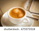 coffee espresso. cup of coffee. | Shutterstock . vector #675373318