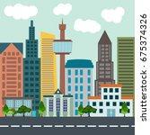 colorful flat city landscape...   Shutterstock .eps vector #675374326