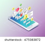 isometric concept with mobile... | Shutterstock .eps vector #675383872