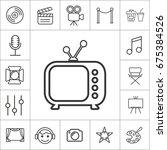 old tv. thin line entertainment ... | Shutterstock .eps vector #675384526