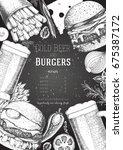 beer and burgers vector... | Shutterstock .eps vector #675387172