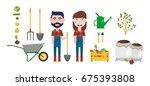 set of farmer element.man with... | Shutterstock .eps vector #675393808