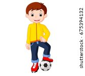 boy cartoon playing soccer | Shutterstock .eps vector #675394132