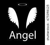 white angel icon on black... | Shutterstock .eps vector #675398125