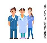 medical team. group of hospital ... | Shutterstock . vector #675399736