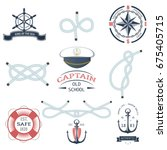set of vintage nautical labels  ... | Shutterstock .eps vector #675405715
