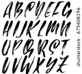 hand drawn dry brush font....   Shutterstock .eps vector #675408196