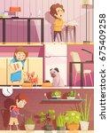 kids feeding pets watering... | Shutterstock .eps vector #675409258
