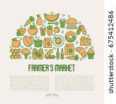 farmer's market concept in... | Shutterstock .eps vector #675412486