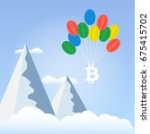 bitcoin with balloons on the sky | Shutterstock . vector #675415702