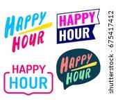happy hour. badge  icon  logo... | Shutterstock .eps vector #675417412