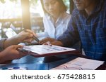 business people working with... | Shutterstock . vector #675428815