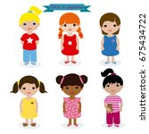 set girls in pajamas | Shutterstock .eps vector #675434722