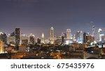 bangkok city night light ... | Shutterstock . vector #675435976