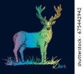 deer. hand drawn rainbow... | Shutterstock .eps vector #675442942