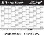 year planner calendar 2018  ... | Shutterstock .eps vector #675466192