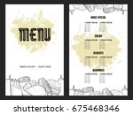 retro menu design with icons ... | Shutterstock .eps vector #675468346