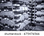 stack of raw aluminium  in... | Shutterstock . vector #675476566