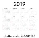 simple calendar layout for 2019 ... | Shutterstock .eps vector #675481126