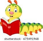 cartoon caterpillar reading book | Shutterstock .eps vector #675491968