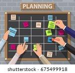 bulletin board hanging on brick ... | Shutterstock .eps vector #675499918