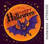 cartoon vampire bat on full... | Shutterstock .eps vector #675502102