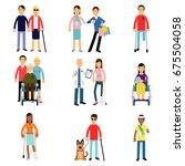 disabled men and women... | Shutterstock .eps vector #675504058