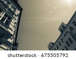old european apartment building ... | Shutterstock . vector #675505792
