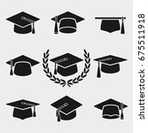 graduation cap set. vector | Shutterstock .eps vector #675511918