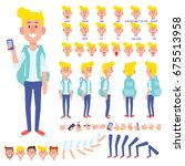 front  side  back view animated ... | Shutterstock .eps vector #675513958