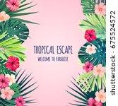 floral square postcard design... | Shutterstock .eps vector #675524572
