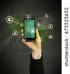 caucasian hand in business suit ... | Shutterstock . vector #675525652