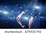 male hands touching interactive ... | Shutterstock . vector #675531742