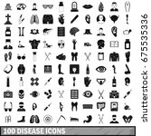 100 disease icons set in simple ... | Shutterstock .eps vector #675535336