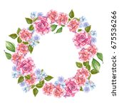 pink roses with leaves painted... | Shutterstock . vector #675536266
