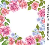 pink roses with leaves painted... | Shutterstock . vector #675536332