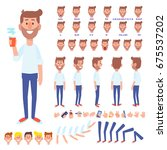 front  side  back view animated ... | Shutterstock .eps vector #675537202